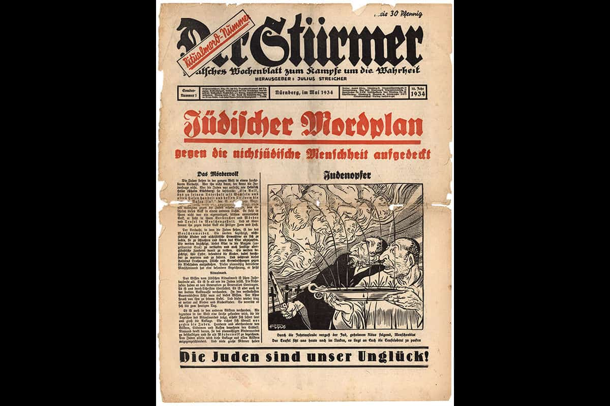 The front page of the Nazi newspaper 'Der Stuermer' in May 1934. The headline reads 'Jewish plan to murder all of non-Jewish mankind exposed'.