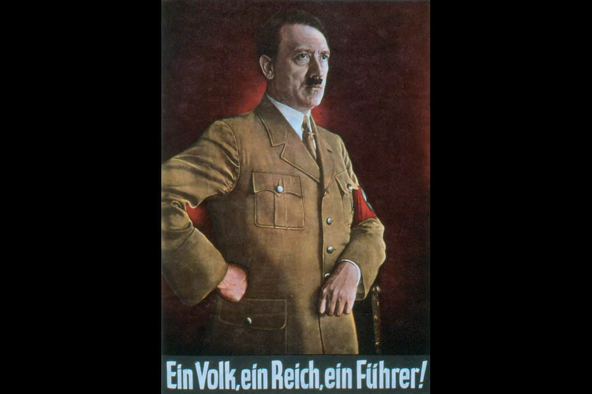 A poster of Adolf Hitler as leader of the Nazi party. The text at the bottom of the poster reads 'One People, One Nation, One Leader'. This poster was used to reiterate three of the key Nazi party messages of racial superiority, nationalism, and ultimate obedience to the Führer.
