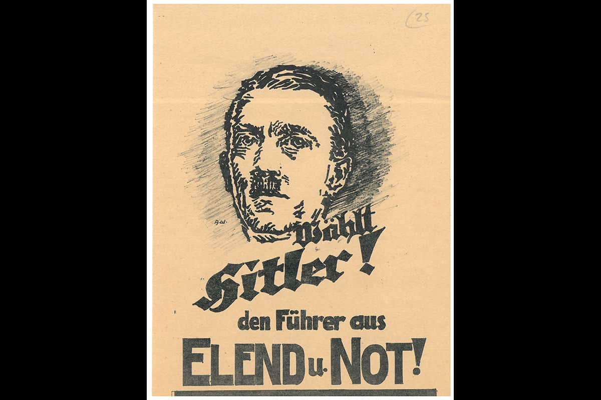An election poster supporting Hitler from the 1932 Reichspräsident elections. This poster plays on the German peoples fear of poverty and misery, presenting Hitler as a strong leader who could help Germany to overcome poverty.