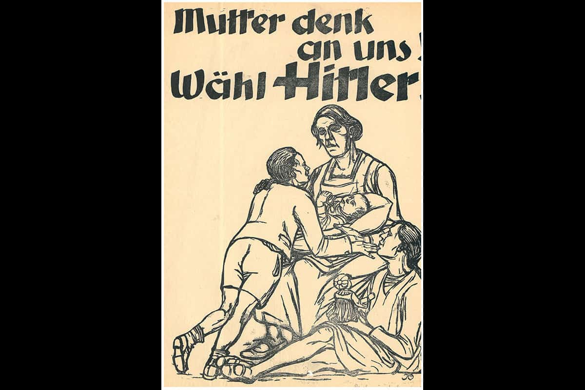 This poster is also from the 1932 Reichspräsident elections. This poster states 'Mother, think of us! Vote Hitler!'. This poster is a good example of how the Nazi Party tailored their propaganda to different societal groups.