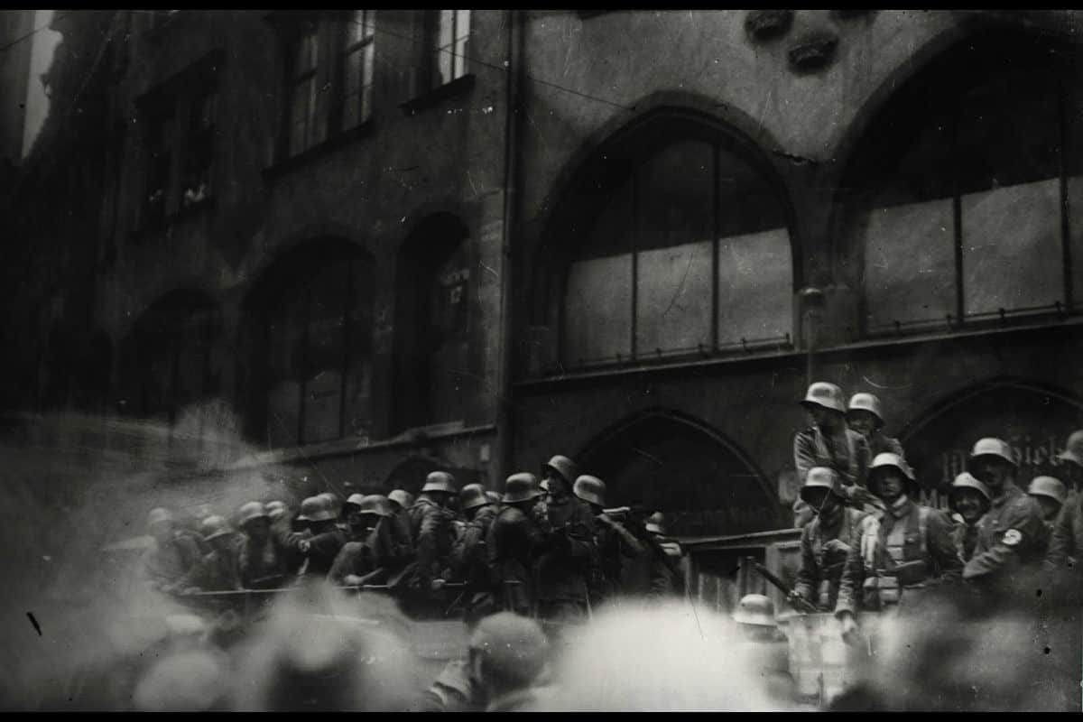 Armed soldiers disembark a tank during the Munich Putsch on the 9 November 1923.