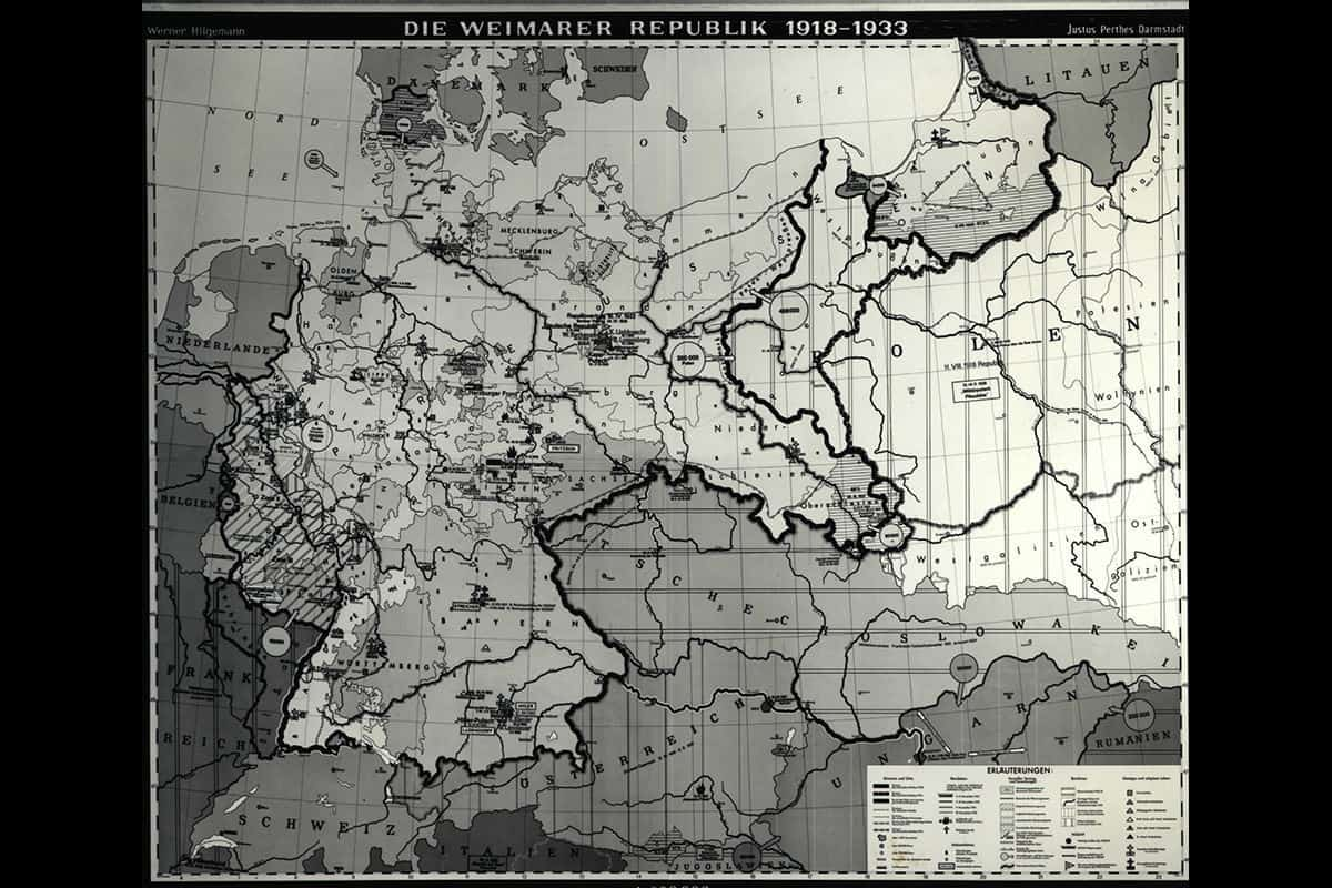 A map of the Weimar Republic from 1918-1933.