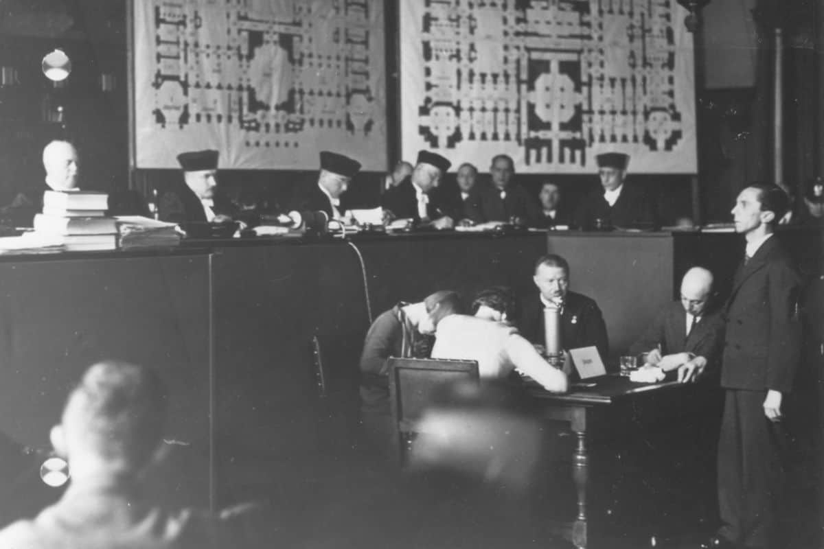 The trial of Van der Lubbe following the Reichstag fire.