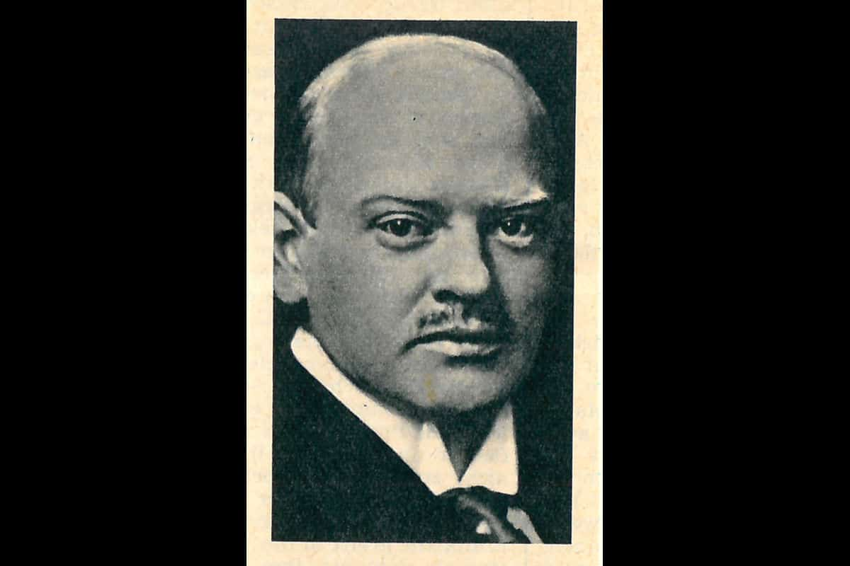 A portrait of Gustav Stresemann. Stresemann was Chancellor of Germany from August 1923 to November 1923. Following the fall of his government, he became Minister for Foreign Affairs from 1923 to 1929.