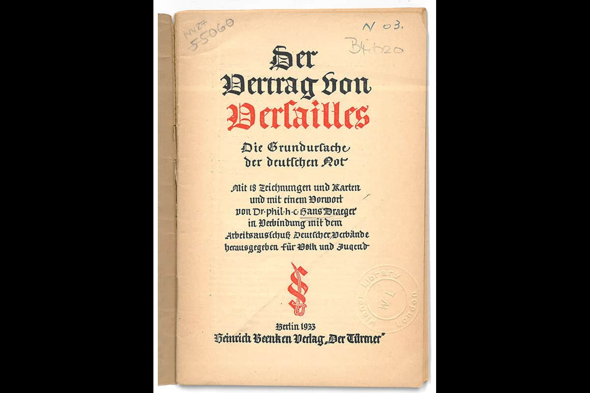 This pamphlet, 'Der Vertrag von Versailles : die Grundursache der deutschen Not', can be translated as 'The Treaty of Versailles: The Root of German Hardship'. The pamphlet was published in 1933, showing that, even years after, the Treaty remained extremely unpopular.