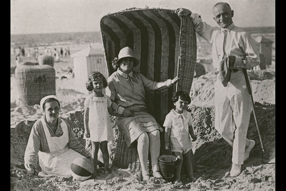 A family enjoying a beach holiday in Norderney, North Germany, in 1927.