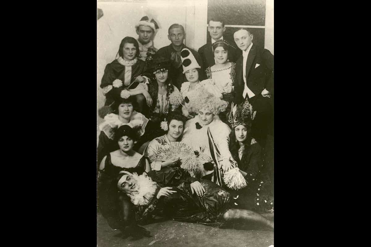 A group of young people enjoy a fancy dress party in Leipzig in 1921.