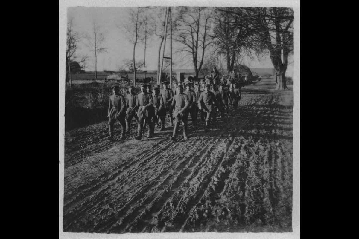 By 1918 the German's were exhausted from four years of battle. Here, German soldiers march on a muddy road during the First World War.