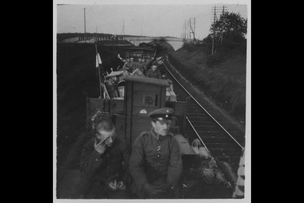 German troops travelling on an open-carriage train during the First World War.
