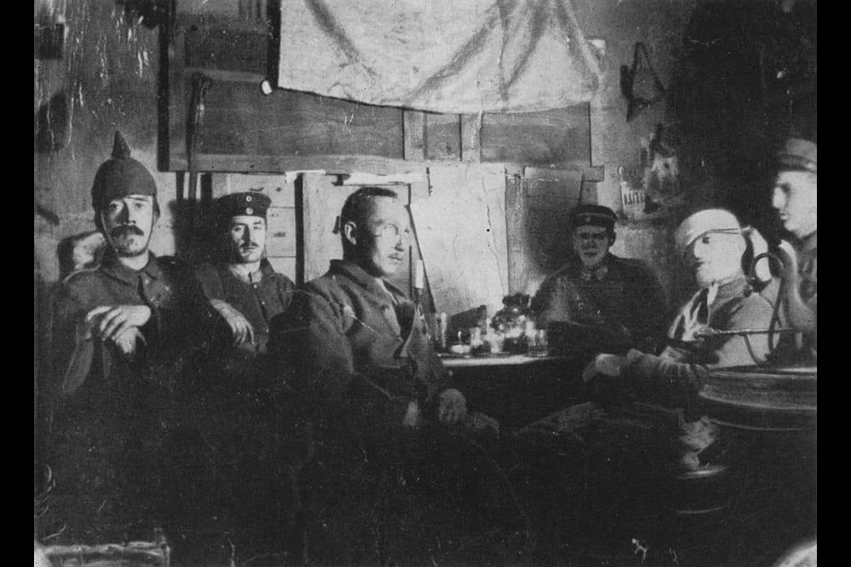 Throughout the First World War, Hitler served as a runner in the 16 Bavarian Reserve Infantry Regiment. Here, he is pictured on the far left, in a shelter on the Western Front.
