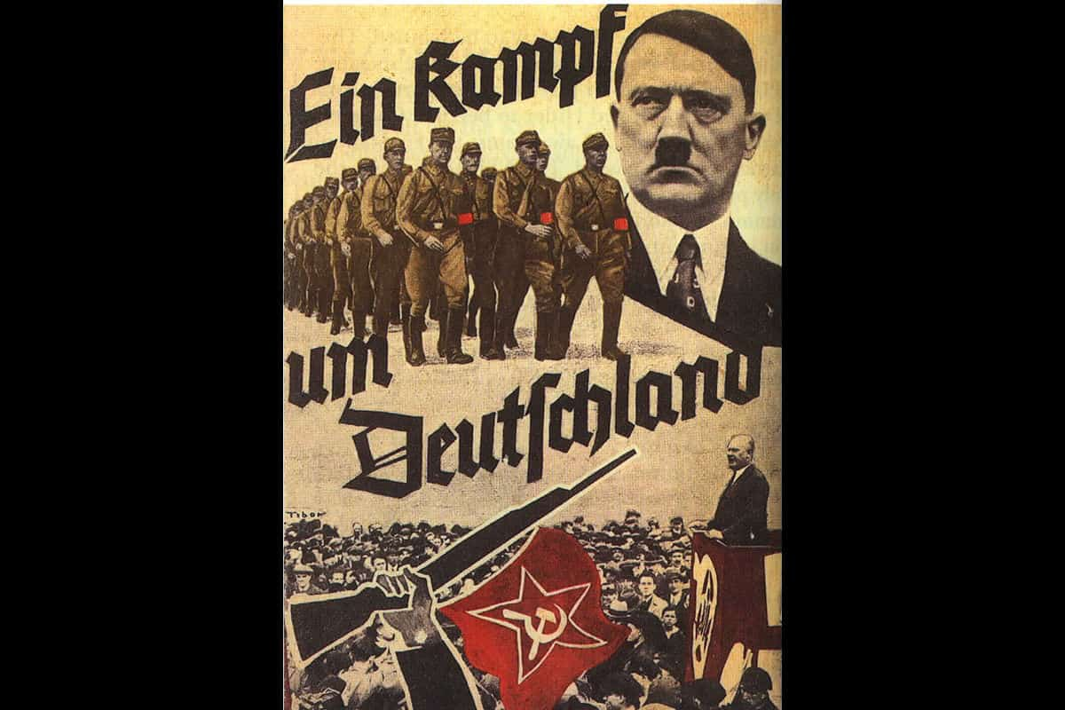 A Nazi Party poster, reading 'The Struggle for Germany'. Posters like this one were key in creating the Hitler myth, portraying Hitler as a strong and patriotic leader who would save Germany.