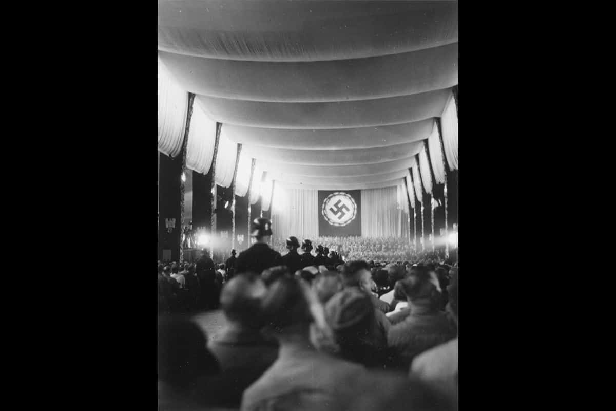 Several factors played a role in the Nazi Party's rise to power. One factor was propaganda. Rallies, like the one pictured here, were an important way of spreading this propaganda. This particular photograph was taken at a rally in Nuremburg in 1934.