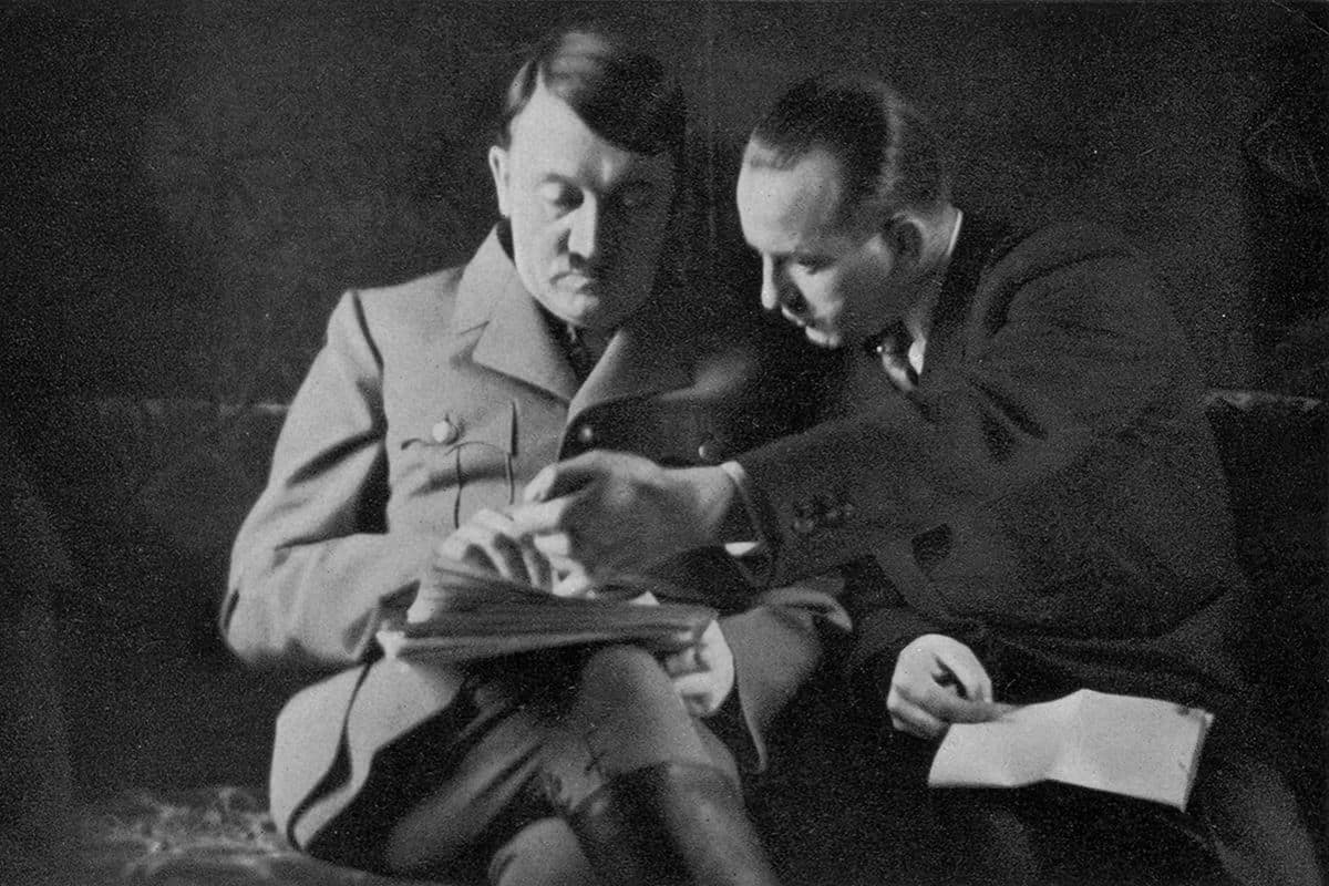 Hitler pictured with Dr. Dietrich, who was the press chief of the Nazi Party from 1931 until his dismissal shortly before the end of the Second World War. Whilst Goebbels played the primary role in creating Nazi Propaganda and the Hitler myth, Dietrich was also key in spreading the Nazi ideology through publications and newspapers from an early stage.