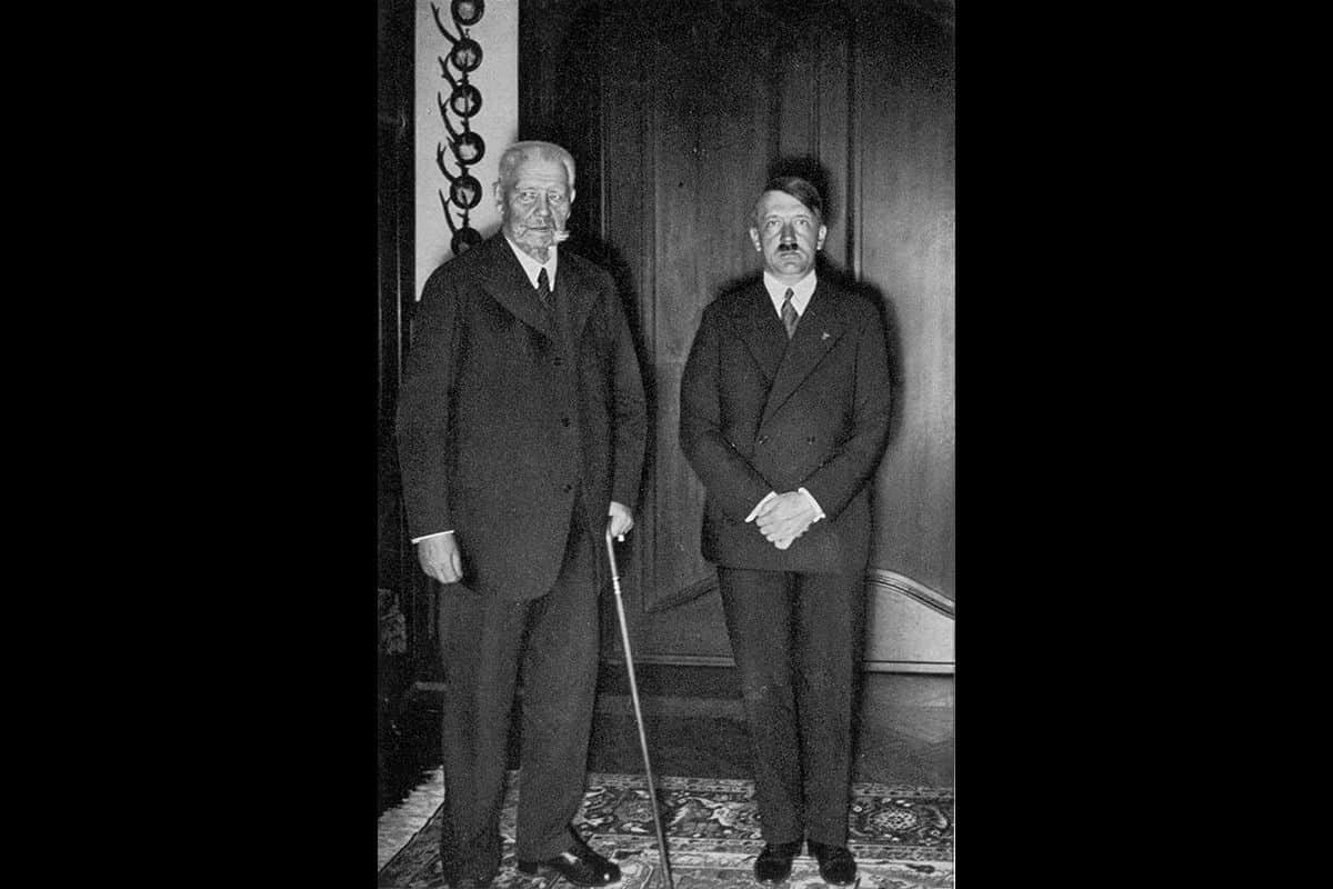 Hitler stands next to President Hindenburg shortly after becoming chancellor on 30 January 1933.