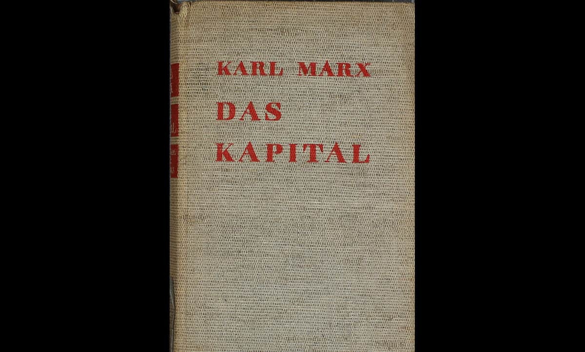 A copy of Das Kapital by Karl Marx, published in 1932. As a communist from a previously prominent Jewish family (although his father had converted to Christianity, his grandfather and uncle were Rabbis) Marx was one of the many authors blacklisted by the Nazis and many of his works were burned and destroyed.