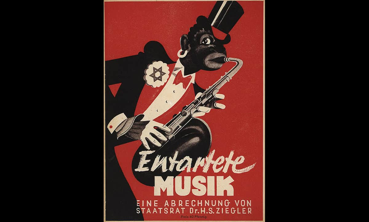 This poster, entitled 'Degenerate Music, an Account of the State Council' was used to advertise the 'Exhibition of Degenerate Music', which opened in Düsseldorf in 1938. This exhibition intended to evidence how music not approved of by the Nazis, such as music by Jewish or black artists or Jazz, was corrupt.