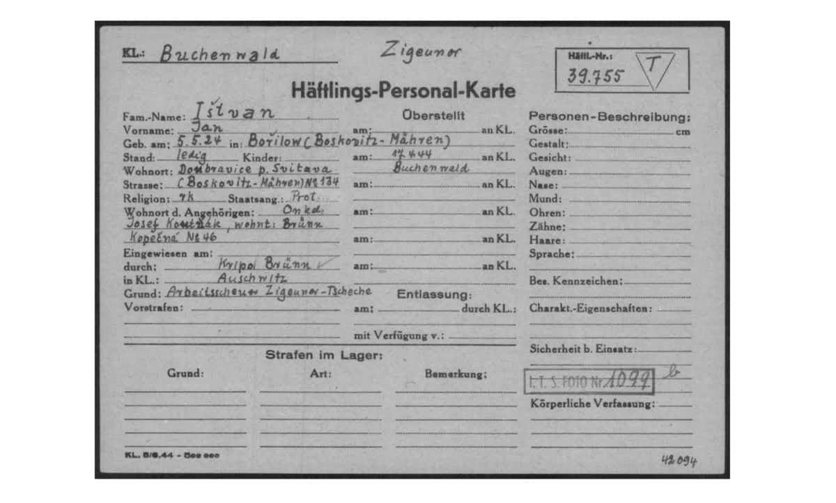 This document, taken from the International Tracing Service Digital archive, is Jan Ištván's prisoner card from his imprisonment at Buchenwald. At the top of the card, Jan is marked as a Zigeuner – a German word used to describe Roma. The card gives basic biographical information about Jan, as well as the camp he was transferred from, and the reason for his arrest (which was listed as work-shy Czech Roma).
