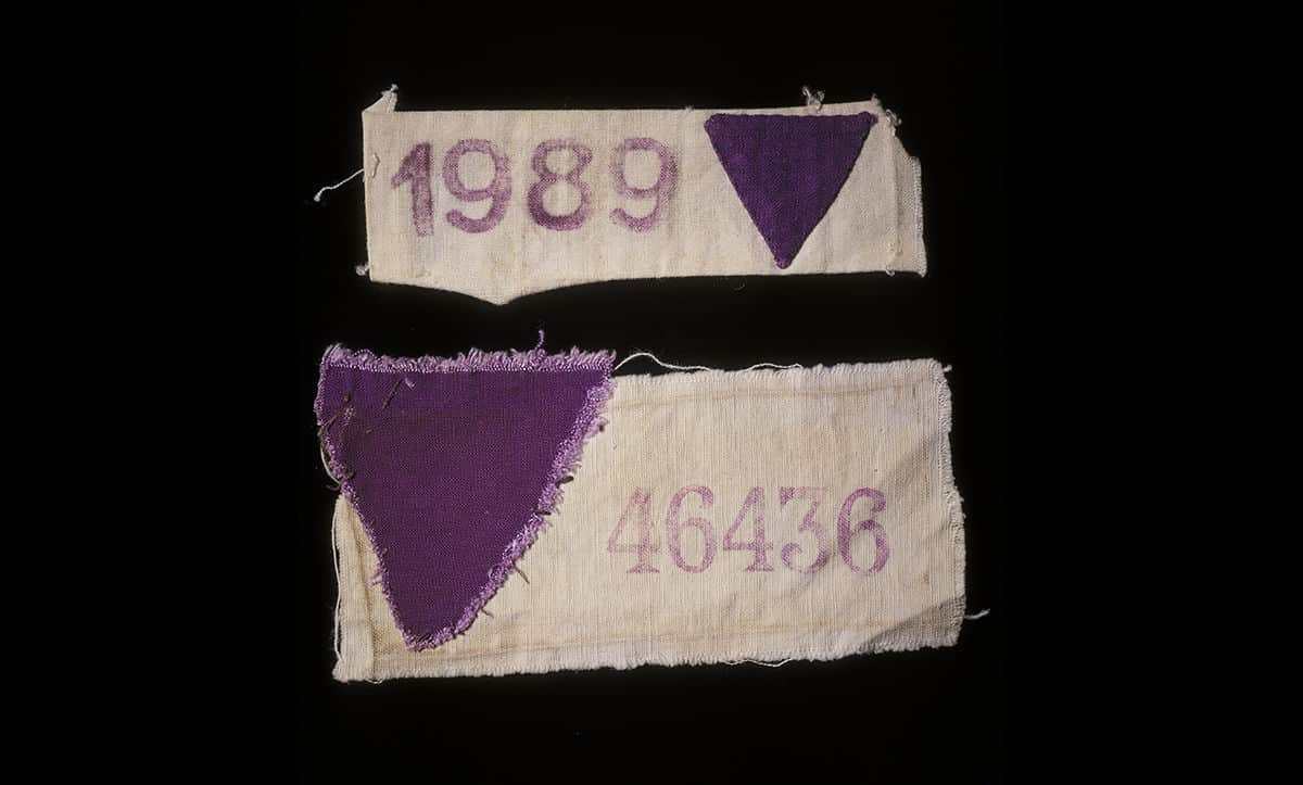 Jehovah's Witnesses that were imprisoned in concentration camps were forced to wear purple triangles to identify themselves. These armbands were worn in Ravensbrück by Albert Jahndorf (with the number 46436 printed) and Luise Jahndorf (with the number 1989 printed).