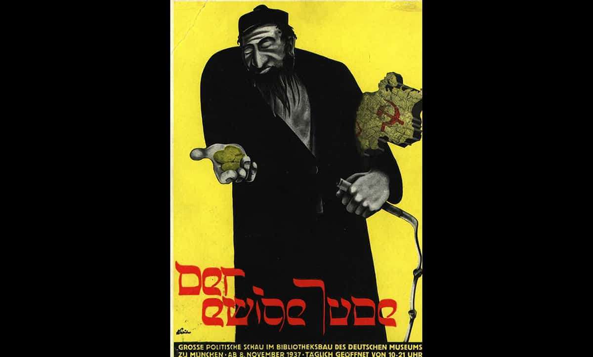 This poster was used to advertise The Eternal Jew; the title of the 1937 exhibition of 'degenerate' art. The exhibition ran from the 8 November 1937 to the 31 January 1938, attracting over 400,000 visitors.