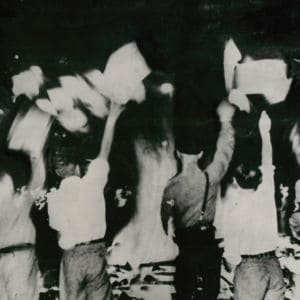<p>On 10 May 1933, university students supported by the Nazi Party instigated book burnings of blacklisted authors across Germany.</p>