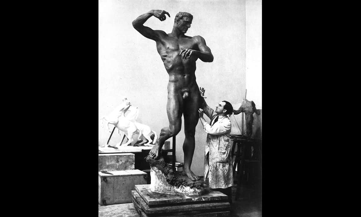 Professor Arno Breker, a Nazi-approved artist, in his studio creating his sculpture Prometheus. Prometheus was created for the garden of the Reich Ministry of Public Enlightenment and Propaganda in 1935.