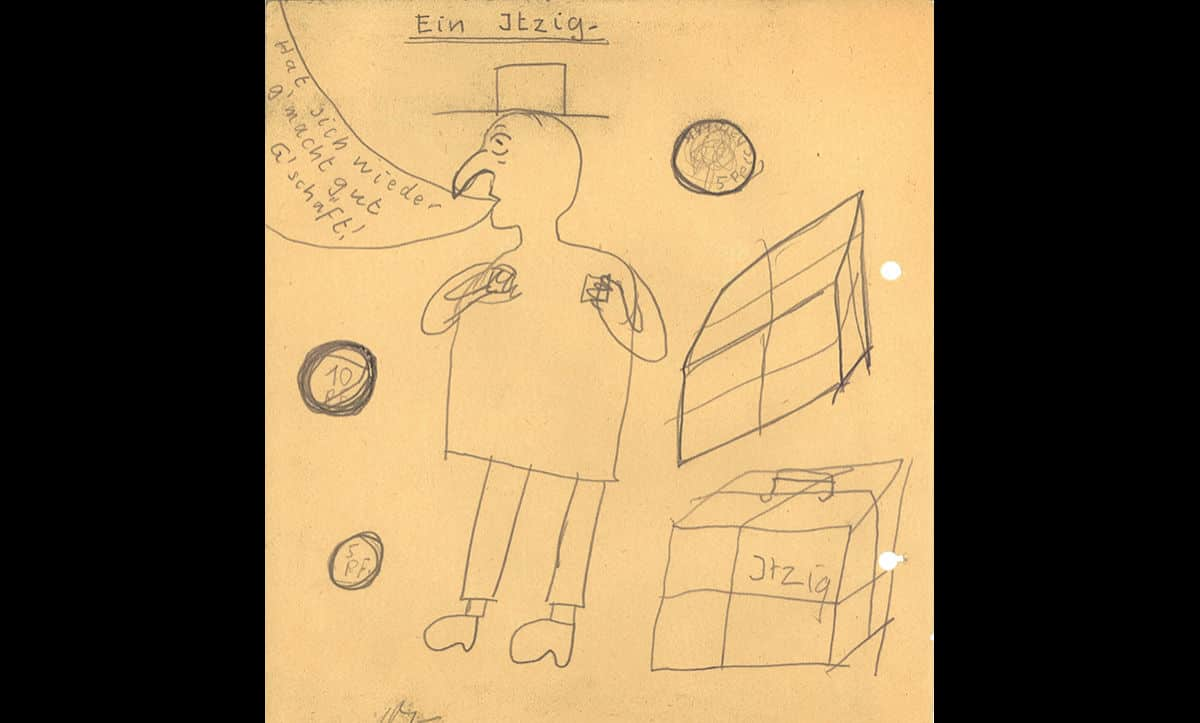 Antisemitism underpinned all aspects of education under the Nazis. As a result of this, many children drew stereotypical drawings such as this one, showing a Jew under the title 'Itzig', a common German antisemitic slur. The caption reads 'made himself a good deal again', referring to the antisemitic story that Jews conducted dishonest business.
