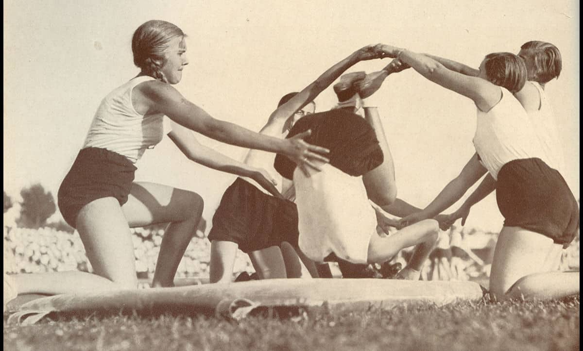 The League of German Girls had a large focus on outdoor pursuits and sports. Here, members of the group practice gymnastics in the mid-1930s.