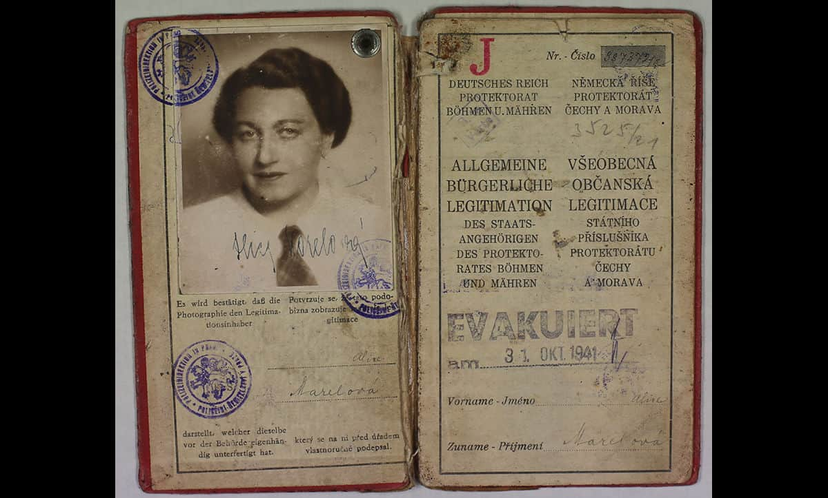 A Jewish identification card from the Protectorate of Bohemia and Moravia belonging to Alice Stern. These cards were issued to all Jews following the Nazis occupation of Czechoslovakia. During the German occupation, Alice was transported to the Łódź Ghetto on the 31 October 1941 (as marked on the lower right hand page). Alice survived the war and emigrated to Britain.
