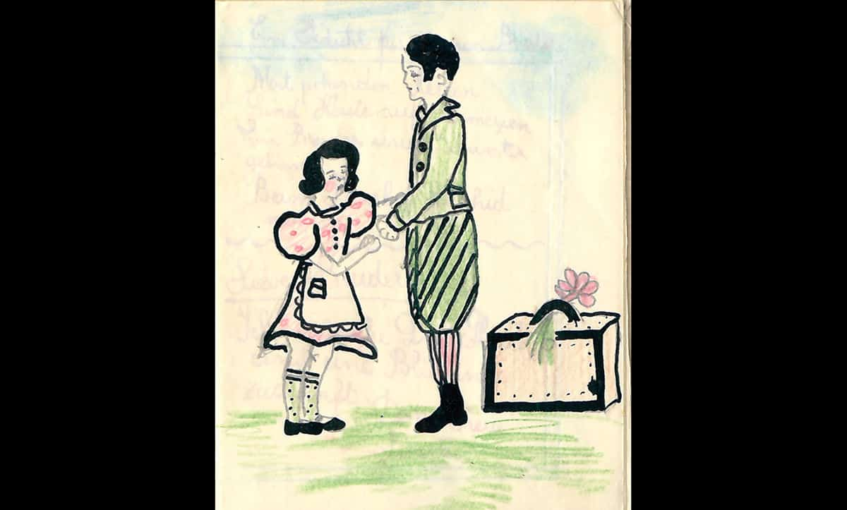 This drawing also features in the notebook made by Sonja Jaslowitz for her brother Harry. The drawing shows Sonja and Harry saying goodbye at the station as Harry departs for England. Sonja and her parents went through several ghettos and concentration camps in Transnistria, and survived. Tragically, shortly after liberation her father contracted Tuberculosis and died. Sonja was killed shortly after by a British bomb on Bucharest. She was seventeen. Their mother, Lotte, travelled to England where she was reunited with Harry.