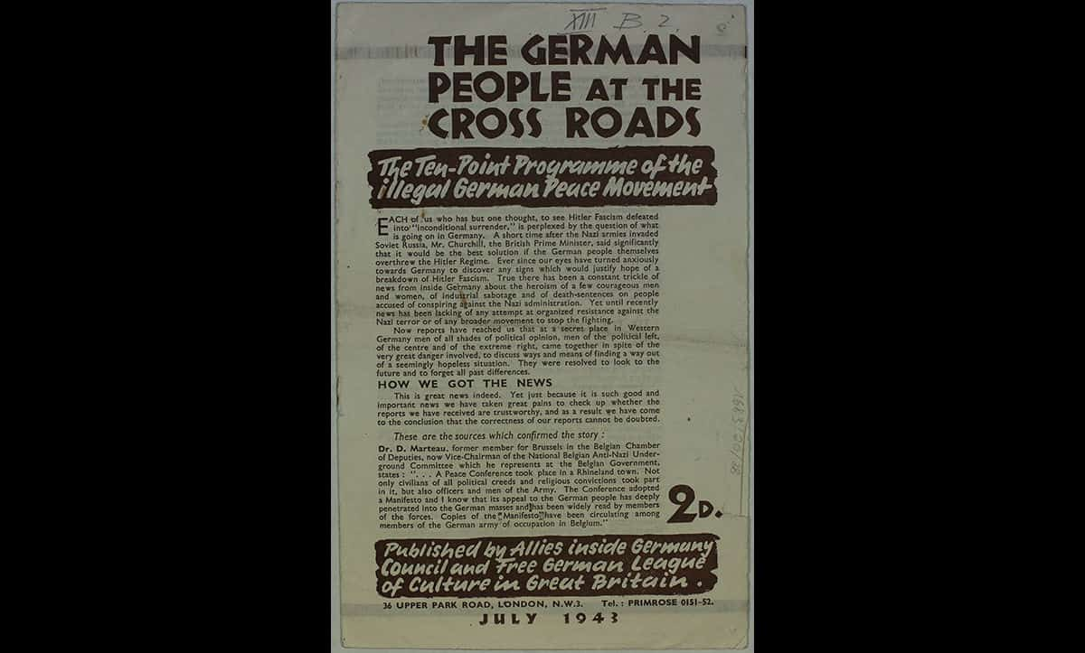 This pamphlet was published in July 1943. It circulated the details of a meeting of German resistance in 1943, shortly after the end of the Battle of Stalingrad. The pamphlet helps to evidence the small but growing discontent from some groups against the Nazis in Germany by this stage in the war. However, this discontent and resistance was typically from small, uncoordinated, groups rather than a united national movement.