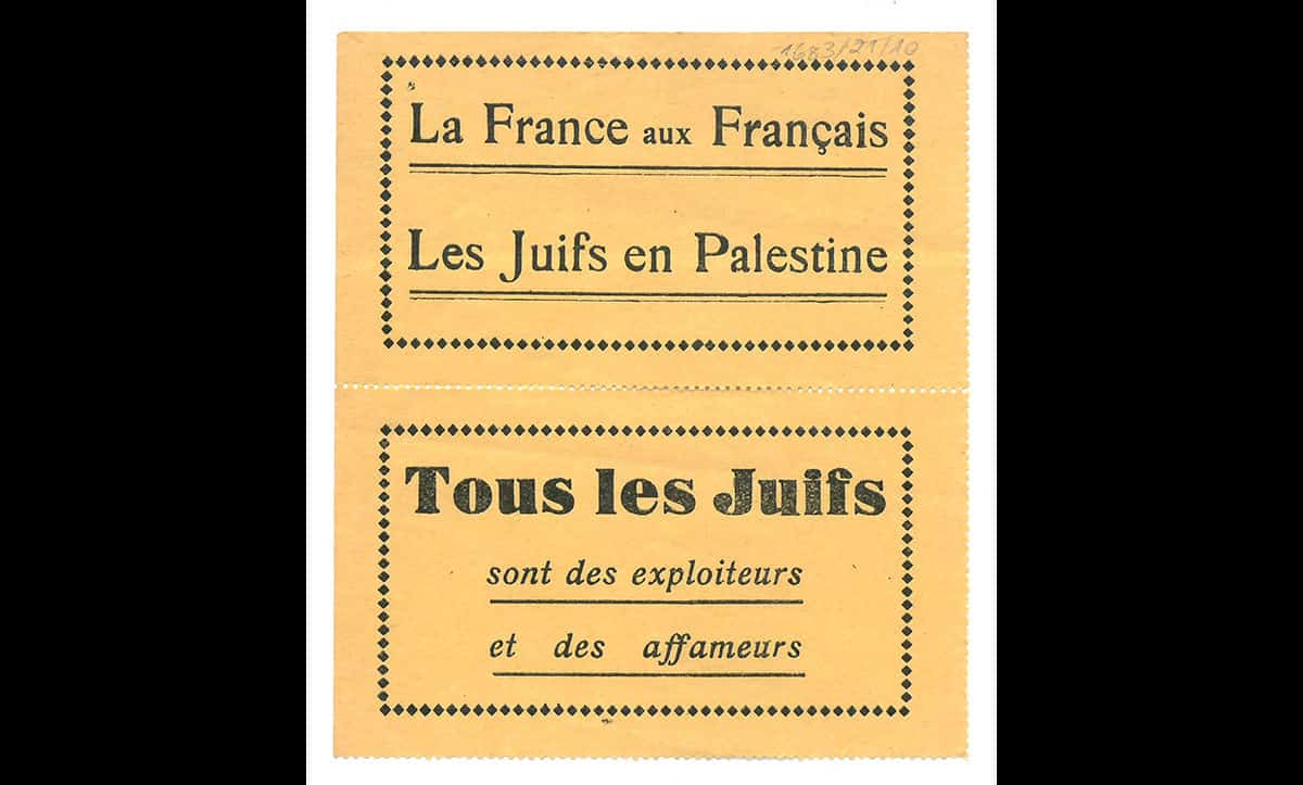 These French antisemitic labels read 'France for the French, Jews in Palestine, All Jews exploit and starve the world'. Whilst their exact provenance is unknown, these labels were likely printed in France in the late 1930s or early 1940s.