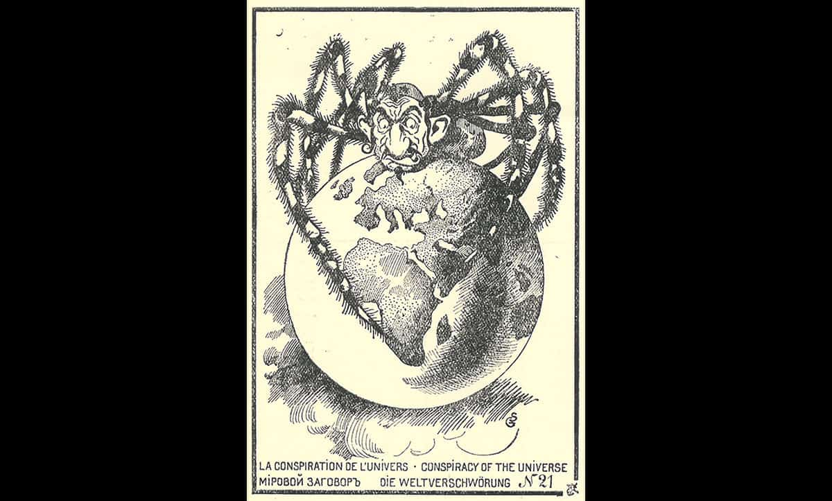 This postcard depicts the stereotype of a Jew as the head on a standing, stood on top of a globe. Similarly to the previous image, it hints at alleged Jewish global domination.