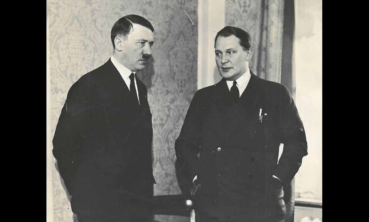 On 18 October 1936, Hermann Göring was named the Plenipotentiary of the Four Year Plan. This role had authority over the Ministry of Economics, bypassing and undermining the Minister of Economics Hjalmar Schacht. Here, Göring is pictured with Hitler prior to their rise to power in 1933.