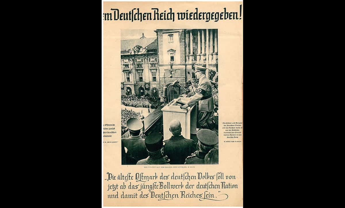 This newspaper was printed shortly after Hitler's speech on the 15 March. The newspaper headline reads 'Given back to the German Reich!' It goes on to quote part of Hitler's speech, 'The oldest territory of the German people shall from now on be the youngest bulwark of the German nation and thereby the German Reich.'