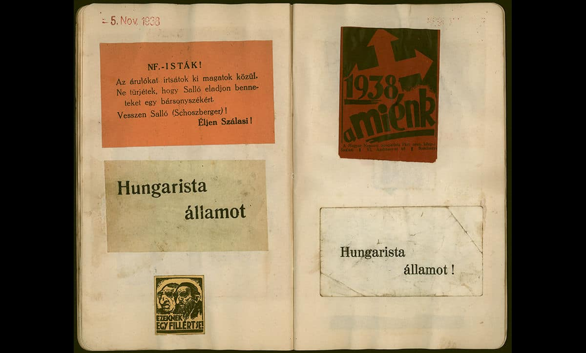 This is a collection of antisemitic and nationalist stickers and notices that were collected by George Burger, a Hungarian Jew, prior to the Second World War. The collection helps to evidence the popularity of these ideas in Hungary at that time. The bottom left sticker, showing a stereotypical image of a Jew, reads 'Don't give a penny to these people!'.