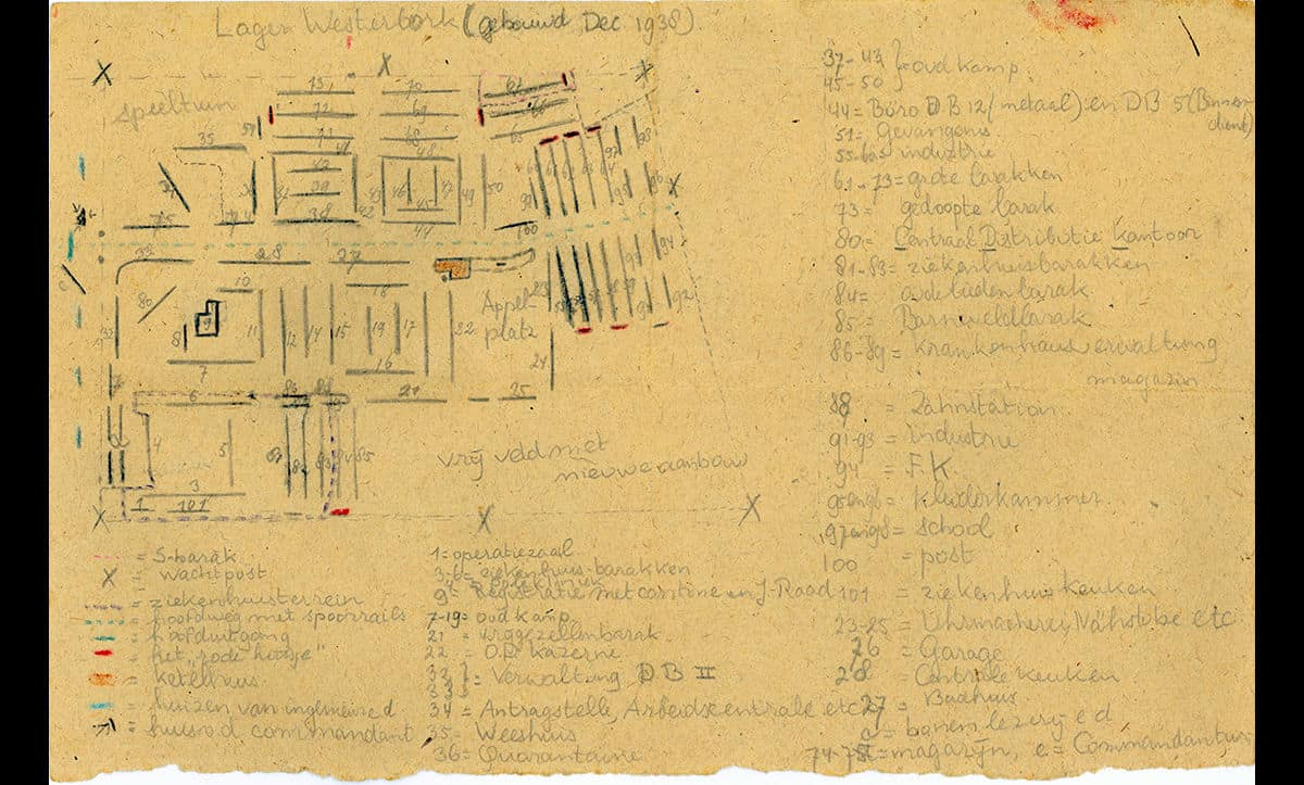 This map of Westerbork, a transit camp the north of the Netherlands was drawn by Ruth Wiener. Ruth Wiener was the daughter of Alfred Wiener, who founded The Wiener Library. To escape antisemitism in Germany, the Wiener family had moved to Amsterdam in 1933. Ruth was incarcerated in Westerbork in 1943 and later Bergen-Belsen with her mother and two sisters.