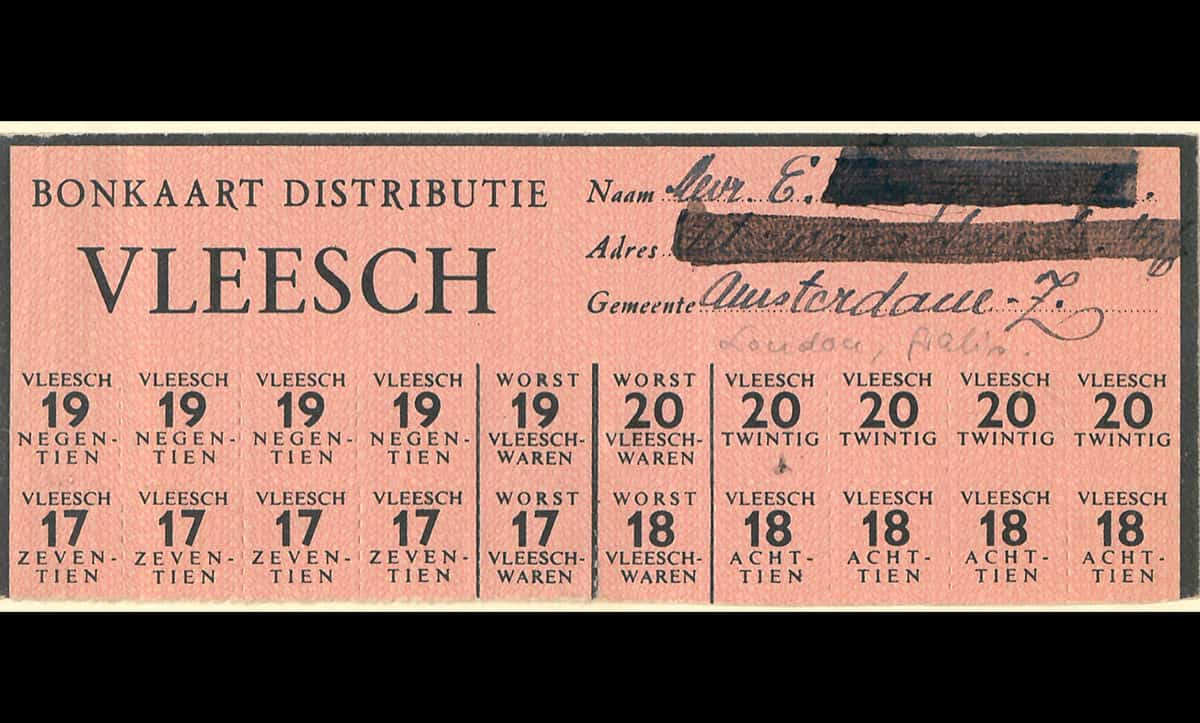 This is a part of a ration card from the Netherlands during the Second World War, entitling the holder to twenty rations of meat. Food in the Netherlands was rationed throughout the Nazi occupation.