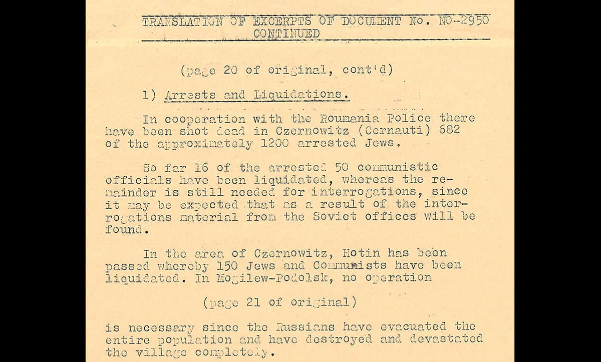 This report is from the Einszatgruppen, killing squads which followed behind the German Army. This report details the collaboration and help offered by the Romanian police.