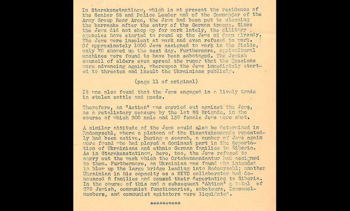 This report, taken from the Nuremberg War Crimes Trial documents, discusses the actions of the Einsatzgruppen in occupied Ukraine. The report shows how the Einsatzgruppen justified the murder of several Jews, insinuating laziness and stealing.