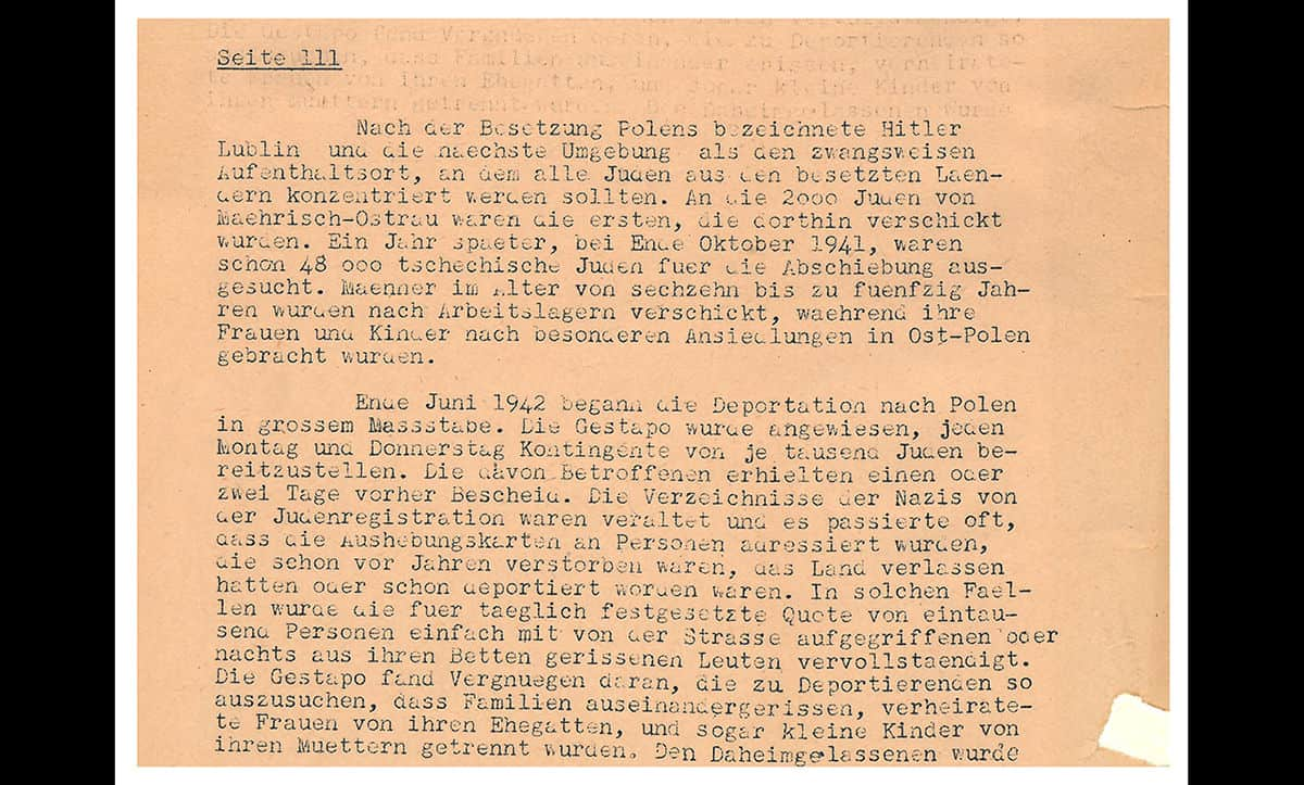 This excerpt, from a report from the Czechslovak Ministry of Foreign Affairs, describes occupied Czechoslovakia. It states: