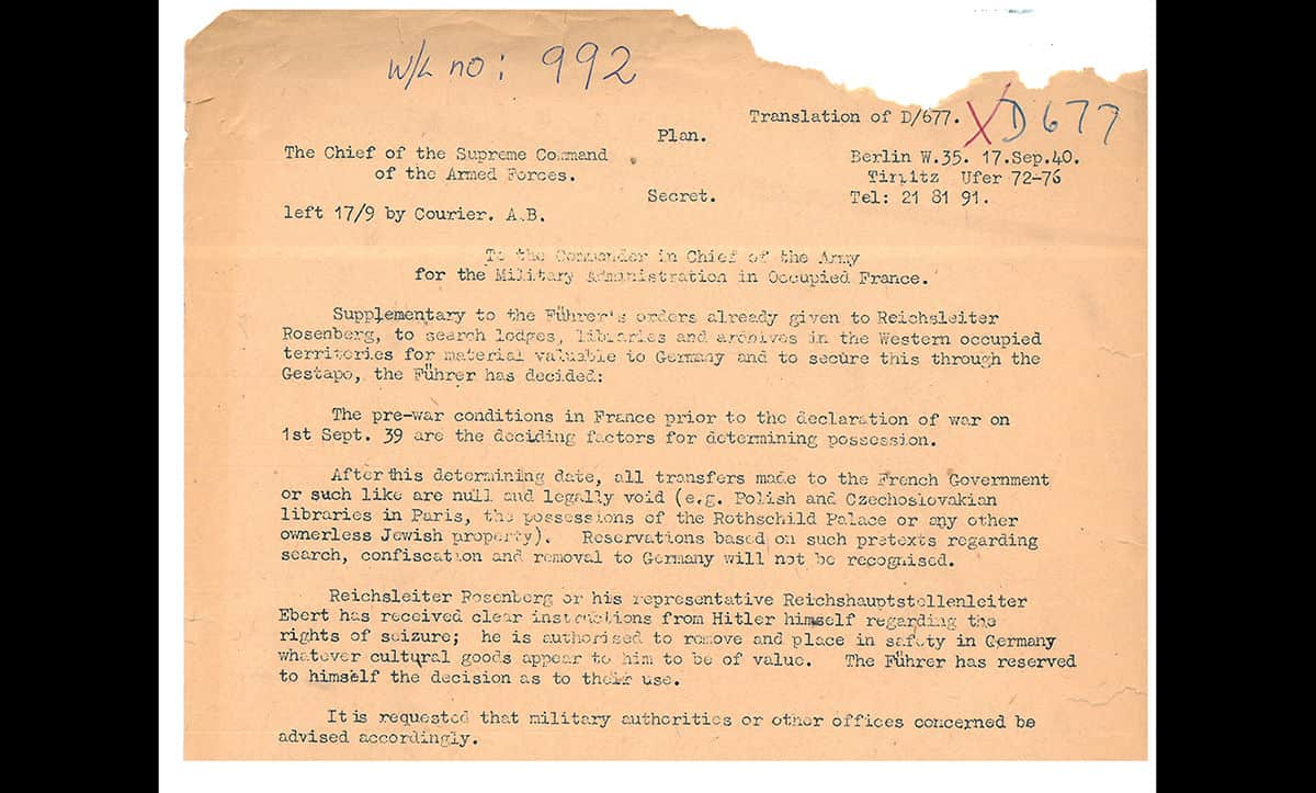 An order from Wilhelm Keitel, Chief of the German Armed Forces High Command, ordering the seizure of Jewish property in occupied France.