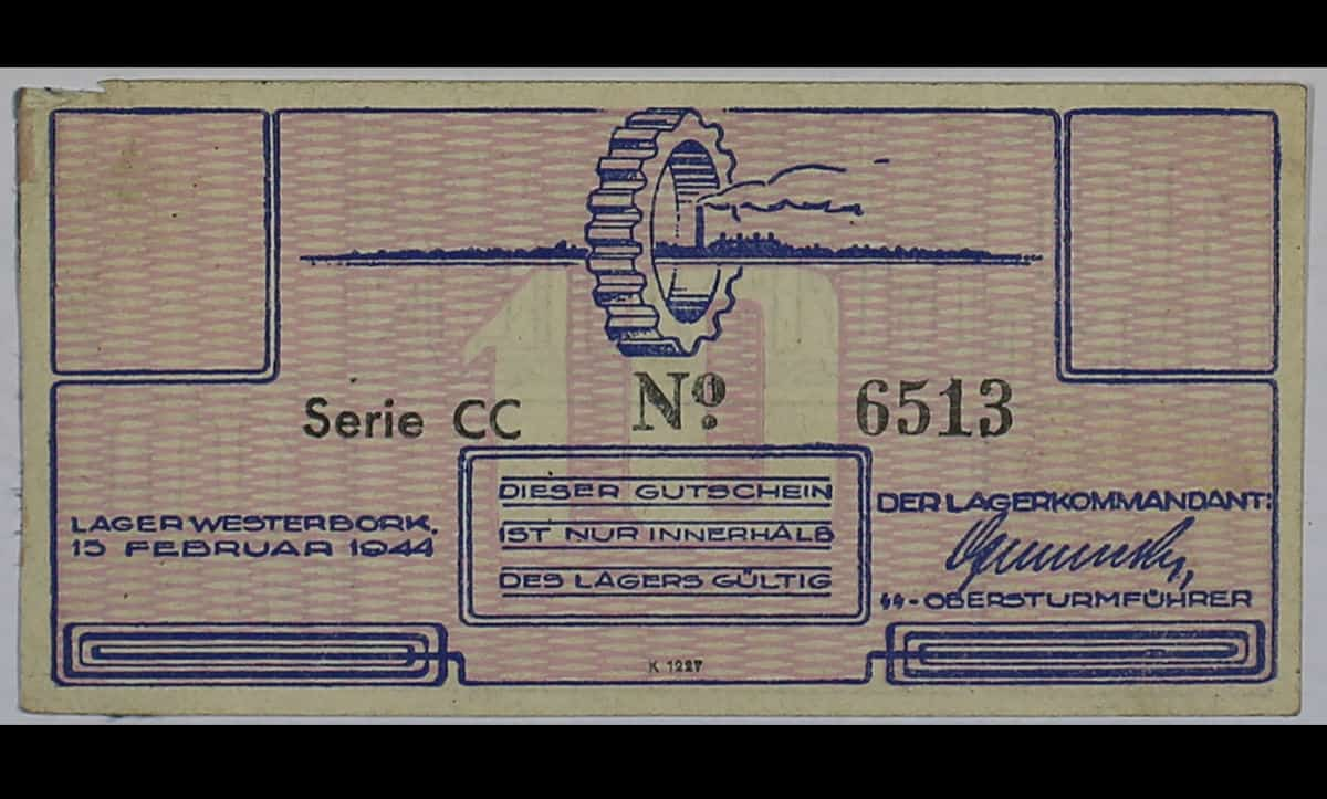 This is a banknote from Westerbork Concentration Camp, issued on the 15 February 1944 and worth 10 cents. As normal currency was banned and confiscated in the camp, these vouchers were distributed as an incentive for inmates to complete work.