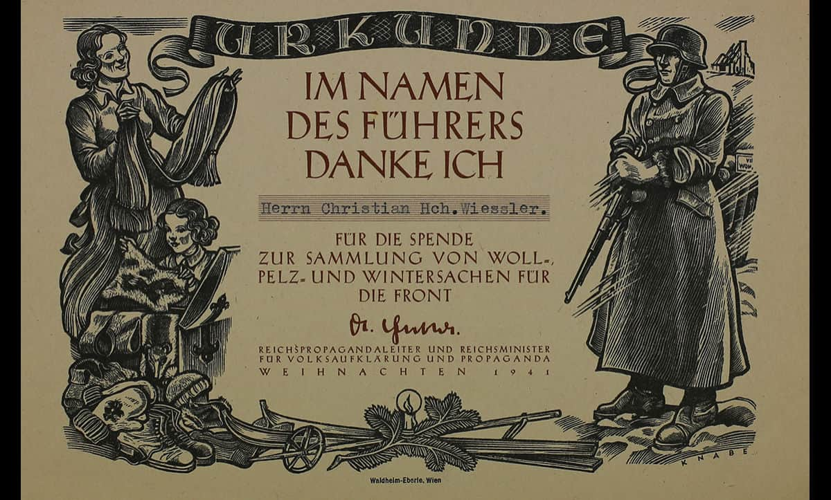 This certificate was issued to thank German citizens for their donations of fur and winter clothes in response to a Christmas 1941 appeal for the troops on the Eastern Front.