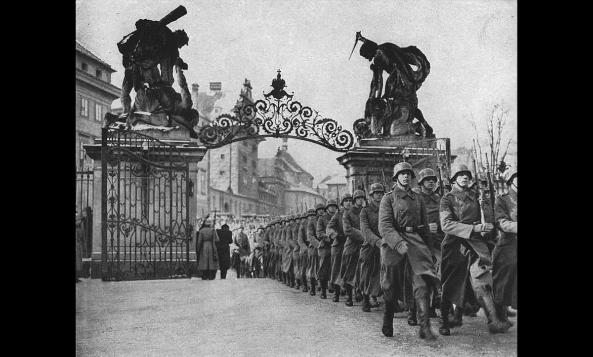 German troops march into Prague Castle following the Nazis invasion of Czechoslovakia in March 1939.