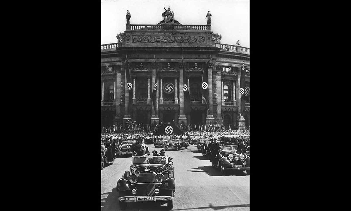 This picture was taken during Hitler's visit to Vienna, the Austrian capital, shortly after the Nazi annexation of Austria in 1938.