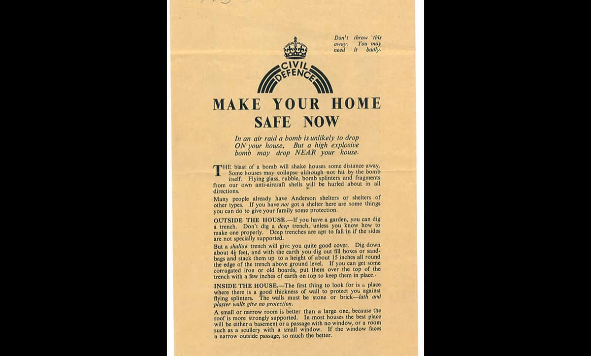 Following the declaration of war with Germany, and the increasing threat of air attacks, the Ministry of Home Security in Britain issued these guidance leaflets on bomb shelters.