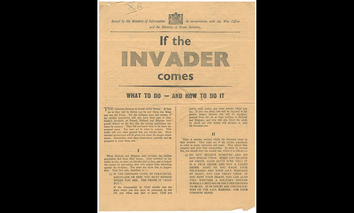 As the threat of air attacks and German invasion increased, the War Office and Ministry of Home Security attempted to prepare Britain for invasion, and a potential occupation. This leaflet finishes with the sentence 'Think before you act. But think always of your country before you think of yourself'.