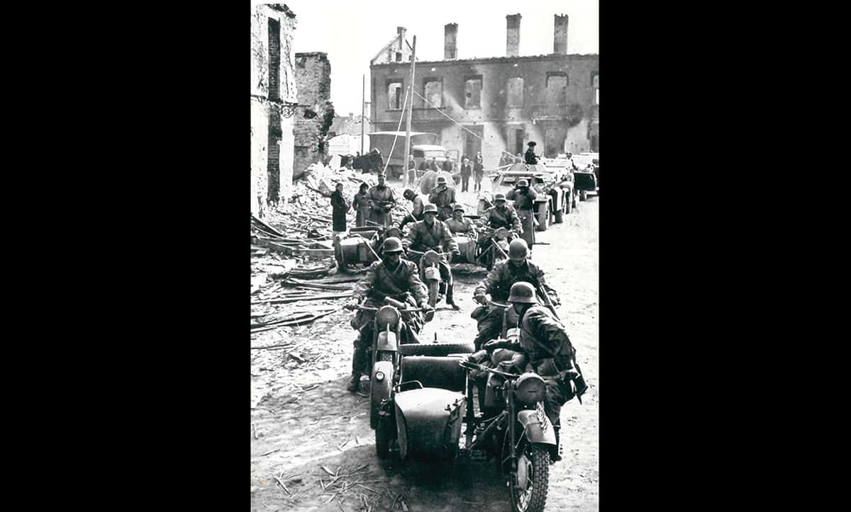 German troops riding through Poland following the invasion of 1939. By the 6 October 1939, just over one month after invasion, Poland had been conquered by the Soviet Union and Germany.