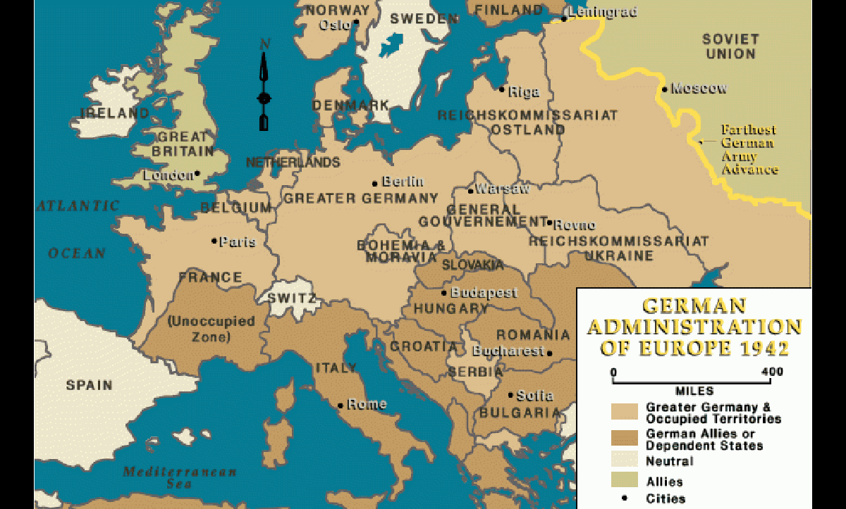 By 1942, the German Army had annexed or occupied large parts of Europe. This map shows these territories as well as the German advance into the Soviet Union.