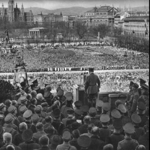 <p>On 15 March 1938, following the German annexation of Austria three days earlier, Hitler gave a speech in front of the palace in Vienna.</p>